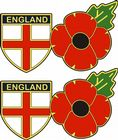 ENGLAND SHIELD FLAG AND POPPY STICKER